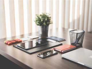 Table with devices for business